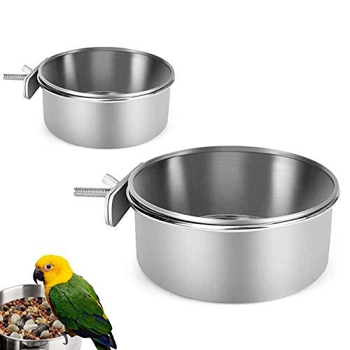 2 Piezas Comedero para Pájaros,Comedero para Colgar Pájaros De Acero Inoxidable Plato,Taza De Alimentación De Loros con Abrazadera,para Alimentación De Loros,Palomas(S/M)