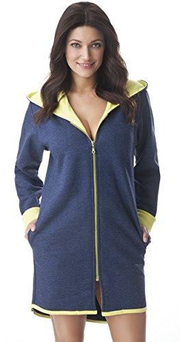 DOROTA kuscheliger und moderner Baumwoll-Bademantel mit Taschen, Reißverschluss & Kapuze, Marine-gelb, Gr. L (40)