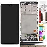 YHX-OU 6.1' para Samsung Galaxy A41 SM-A415F AMOLED Pantalla LCD Conjunto de digitalizador táctil de repuesto con herramienta de instalación + 1 pieza de cristal templado (negro + marco)