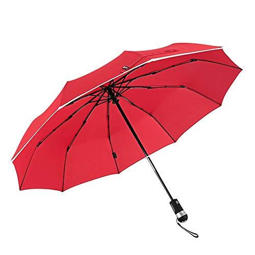 Taschenlampe Auto Öffnen/Schließen Falten Reflektierender Regenschirm, LED Windproof für Frauen Männer mit UV-Schutz Extra Large Black,Red