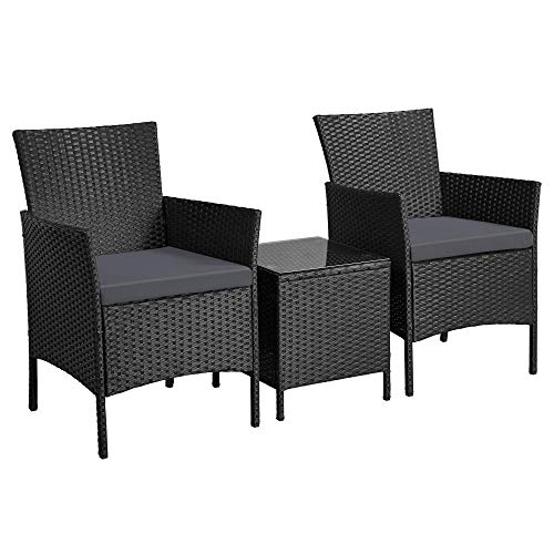 Yaheetech Garden Furniture Sets 3 Piece Rattan Dining Furniture Set Wicker Patio Chair and Coffee Table with Cushions, Black & Grey