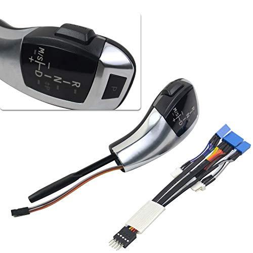 Selector de marchas con pomo de cambio iluminado por LED compatible con 1 Serie E84 E81 E87 E82 E88 3 Serie E90 E91 E92 E93 Z4 E89 (Plata)
