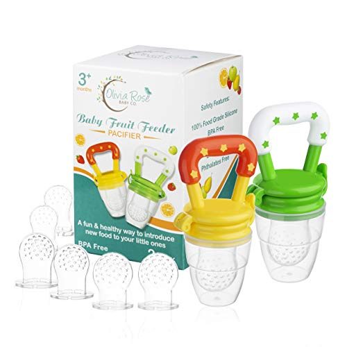 Baby Fruit Feeder Pacifier (2 Pack), Fresh Food Feeding Teether for Toddler, BPA Free, Soothing Gum Relief, Infant Silicone Teething Toy, Includes All The Sizes of The Silicone Nipple Pouches