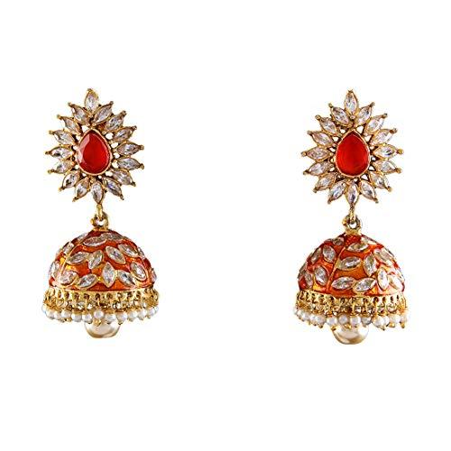 JewelryGift Exclusive Jhumka 18K Gold Plated Crystal Studded Rich Designer Baali Kundal Fashion Jewellery for Women Girls Ladies MY 71-ORANGE