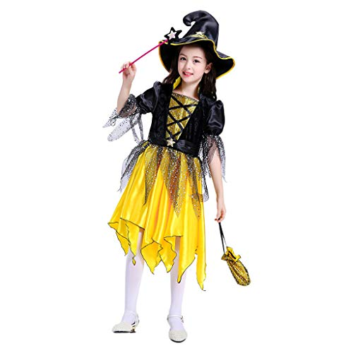 PHILSP Vestido para niños Disfraz de Halloween Bruja Mascarada Vestido de Cosplay Gorro de Media Luna Bolsa de Dulces Dorado + Negro 120 cm