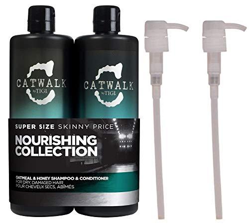 Catwalk Oatmeal & Honey Shampoo und Pflegespülung, für trockenes, geschädigtes Haar, mit Hafer und Honig, 2x 750ml, mit 2Pumpspendern