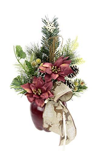 Flair Flower Poinsettie Weihnachtsstern mit Beeren Schneeflocke Schleife Tanne im Apfel-Topf Kunstblume Weihnachtsblume Winterblume Weihnachtsstern Blume Arrangement Weihnachtsdeko Deko Tischdeko