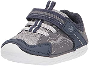 Stride Rite baby boys Soft Motion Kylo Sneaker, Navy/Gray, 4.5 Wide Infant US