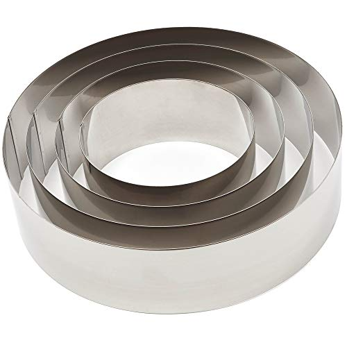 Stainless Steel Cake Baking Rings, 4 Sizes (4 Pieces)