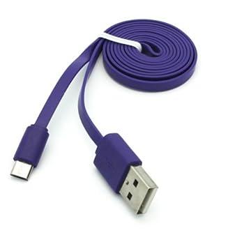 Premium Purple 3ft Flat USB Cable Charging Cord Data Sync Wire for Net10 / Straight Talk / Tracfone ZTE Merit - ZTE Midnight - ZTE Savvy - ZTE Valet - ZTE Whirl / 2 - ZTE Illustra - ZTE Unico LTE - ZTE Majesty - ZTE Solar / Nubia Mini / Avail 2