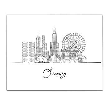 Chicago Illinois City Skyline Landscape Hand Illustrated Wall Art Decor - Unframed 11 x 14 Black & White Print - Anniversary Travel Gift ideas
