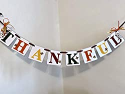 Image: Thanksgiving Decorations - Thanksgiving Banner - Fall Decorations - THANKFUL Banner - Fall Mantle Garland - Family Photo Prop