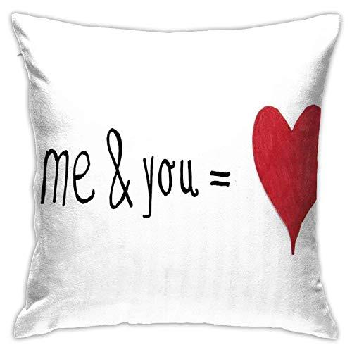 baoan Funda de cojín para cojín con texto 'Me and You Equal to Us Every My World Relationship', impresión de Eros de 45,7 x 45,7 cm