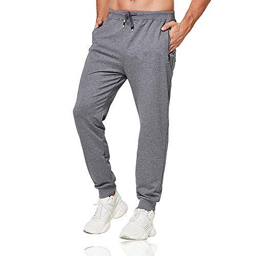 Tansozer Jogginghose Herren Baumwolle Sporthose Männer Lang Trainingshose mit Reißverschluss Taschen Grau XL
