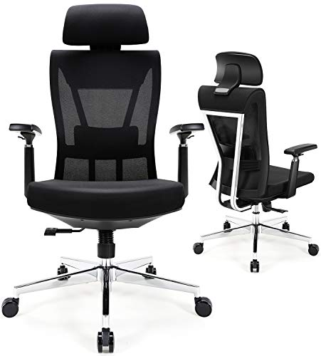 Ergonomic Office Chair, Desk Chair with Metal Backrest, Tribesigns High Back Mesh Chair with Comfortable Padded Lumbar Support, Thick Seat Cushion, 3D Armrest, Adjustable Backrest and Headrest
