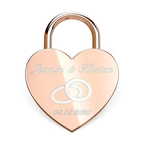 Herz Liebesschloss mit gratis Gravur - Schloss mit einem Schlüssel (Beutel) - Rosegold