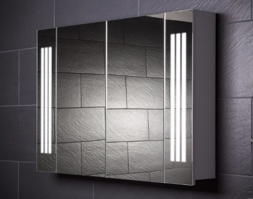 Galdem Spiegelschrank LOFT100 / großer Badezimmerschrank 100cm / 2 türig/mit Trendiger Beleuchtung T5 Leuchtstofflampe/Softclose Funktion/Steckdose/Badezi