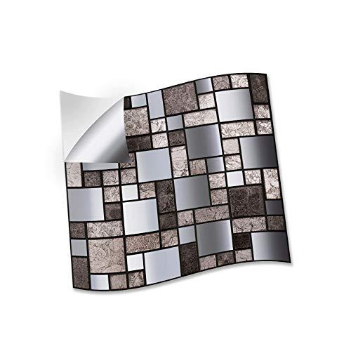 WALPLUS 15 cm (6 pulgadas) @ 24 piezas metálicas plateadas grises mosaicos adhesivos de pared para azulejos de cocina, baño y azulejos de transferencia de azulejos