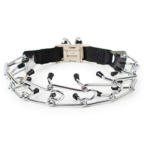 Xligo 1pc Iron & Nylon Pinch Dog Training Chain Collar Prong Pet Choker Collars Dog Supplies Gift T30