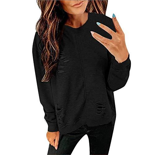 YEBIRAL Pulli Mädchen, Damen Pullover Oberteile Top Langarmshirt Rundkragen Casual Sweatshirt mit Destroyed-Optik(XL,Schwarz)