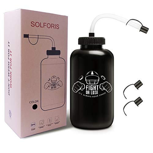 SolForis Hockey Water Bottles with Long Straw, Fit for Football Lacrosse Gym Sport, Plastic Squeezable Leakproof BPA Free, No Strange Smell, Easy to Clean, 1 Liter 32 oz (3 Straw Caps) (black)