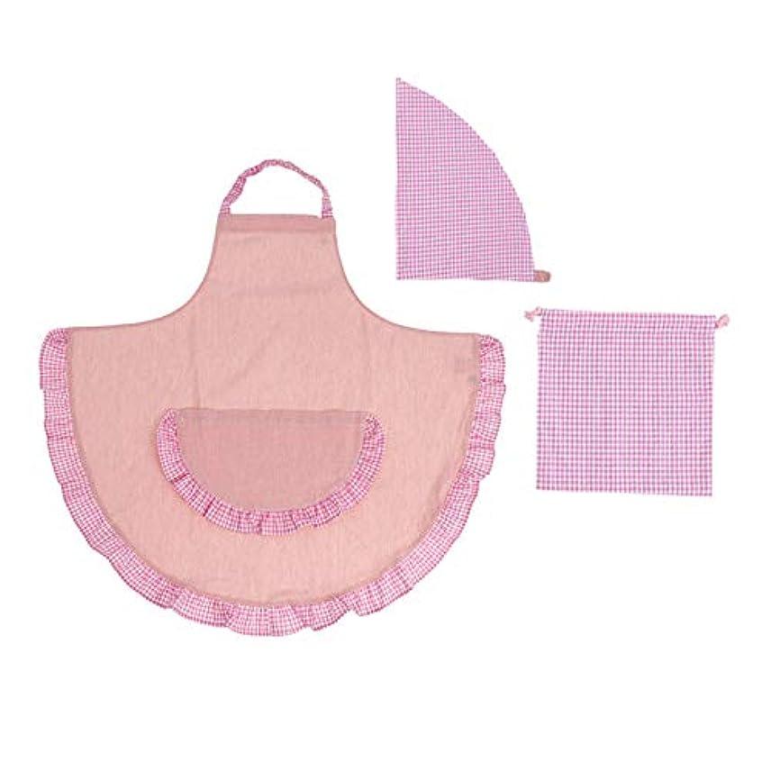 サイクロプス魅了する確執キッズ フリル エプロン 3点セット 日本製 女の子 チェック柄 三角巾型帽子 (ピンク, M)