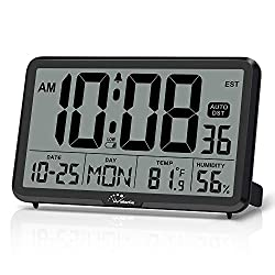 WallarGe Auto Set Digital Wall Clock Battery Operated,Desk Clocks with Temperature,Humidity and Date,Large Display Digital Calendar Alarm Clock for Elderly,Bedroom,Office,8 Time Zone, Auto DST.
