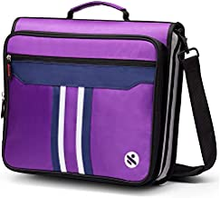 Kinbashi 2-Inch 3 Rings Zipper Binder, Holds 15-Inch Laptop, Handle and Shoulder Strap Included, Purple