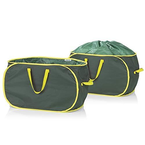 Hoberg Gartenabfalltasche   2 x 333 Liter Selbstaufstellend und Verschließbar   Wasserabweisend, Robust und Stabil   Platzsparend verstaubar [45 kg Tragfähigkeit]
