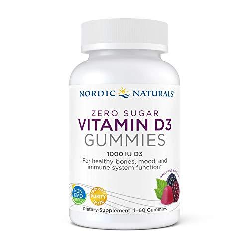 Nordic Naturals Zero Sugar Vitamin D3 Gummies, Wild Berry - 1000 IU Vitamin D3 - 60 Gummies - Great Taste - Healthy Bones, Mood & Immune System Function - Non-GMO - 60 Servings