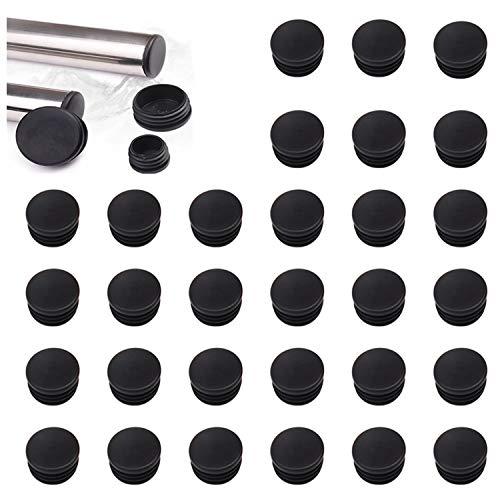 YouU 30 piezas de tubo redondo, tapón de plástico negro, tapa de cierre, poste, cubierta de tubo, tubo, silla, deslizamiento, inserto, tapón de acabado (25x25 mm / 1''x1 '')