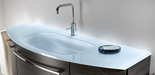 Lanzet S2.1 Glas-Waschtisch (Clou-System) inkl. LED/Glas-Weiß / 120 x 2 x 45,5 cm