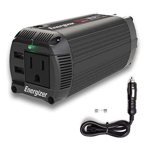 Energizer 150 Watts Dual Mode Cup Power Inverter 12V to 110V, Modified Sine Wave Car Inverter, DC to AC Converter with 110 Volts AC Outlet and 2 USB Ports QC 3.0 ETL Approved to UL458