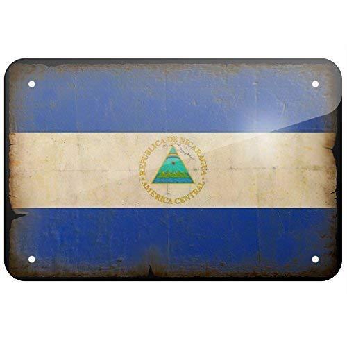 EpochSign Blechschild Nicaragua Flagge im Vintage-Erscheinungsbild Blechschild 20,3 x 30,5 cm