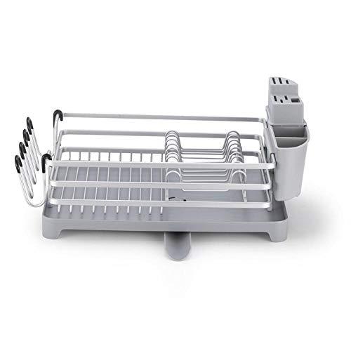Estante de secado de platos de cocina de aleación de aluminio sobre el fregadero Cubiertos Escurridor Soporte Escurridor Vajilla Platos de almacenamiento Cuencos Organizador Estante-Plata