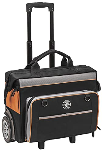 Klein Tools 55452RTB Tool Bag, Water Resistant Tool Storage Organizer Rolls on Rugged 6-Inch Wheels, 24 Pockets, Load Tested to 200-Pound