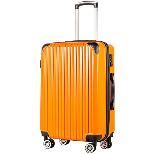 COOLIFE Expandable Suitcase(Only 28in Expandable) Luggage PC+ABS Material with TSA Lock and 4 Spinner Wheels(Orange,S(56cm 38L))