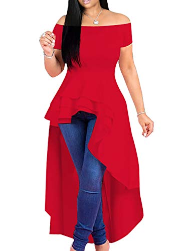 Lrady Womens Off Shoulder Tops High Low Ruffle Short Sleeve Peplum Tunic Blouse Shirt Dress Red S