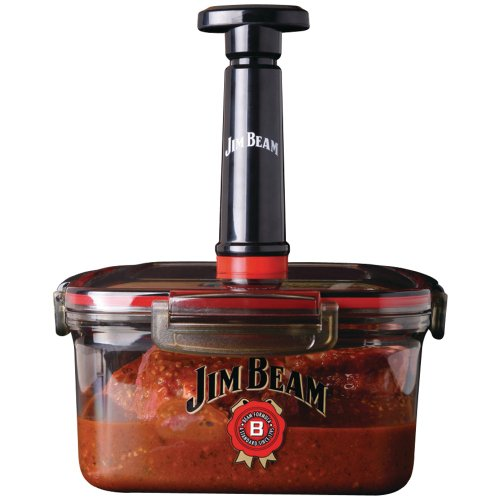 Jim Beam Vacuum Sealed Marinade Box for Grilling and Barbecue, Standard, Red