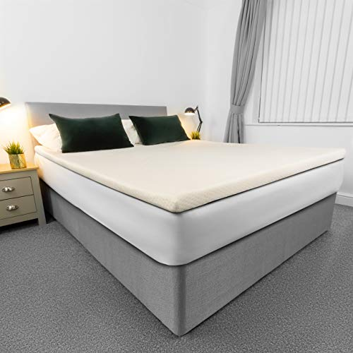 AviiatoR 5cm Memory Foam Mattress Topper Small Double Bed, Made In The UK, Small Double Size Bed, Orthopaedic Pressure Relief With Washable & Removable Cover, Back Pain Support (120 x 190cm)