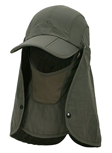 Hiking Hat for Men & Women, Sun Hat, Fishing Hat and Safari Cap with Neck Flap and Face Cover,UPF 50+ UV Sun Protection Hat, Army Green