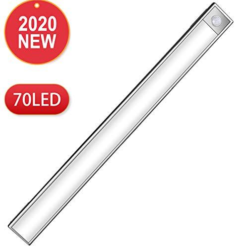 GUFAN 2019最新版 LEDセンサーライト 70LED 室内 人感センサー 夜間ライト 階段ライト 足元灯 明るい 170ルーメン USB充電式 高感度 超寿命 マグネット付 小型 廊下/玄関/寝室/押し入れ/廊下に最適
