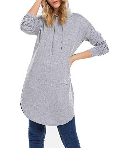 Moletom feminino com capuz e manga comprida com bolso Locryz, Gray*, Medium