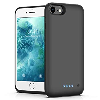 Battery Case for iPhone 6/6s/7/8 [Upgraded 6000mAh] Ekrist Portable Ultra-Slim Protective Charging Case Extended Rechargeable Smart Battery Pack Backup Charger Case Power Bank Cover  Black