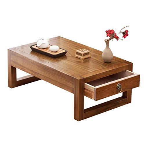 Wohngeräte Beistelltische Couchtische Kleiner Beistelltisch Ulme Chinesische Teetischplattform Niedriger Tisch Kreativer Balkon Erkerfenstertisch mit Schublade (Farbe: Orange Größe: 70 * 45 * 30 cm