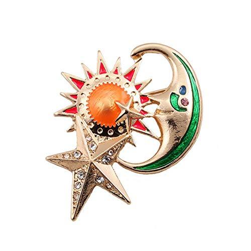 YRFZ Sun Stars Moon Brooch