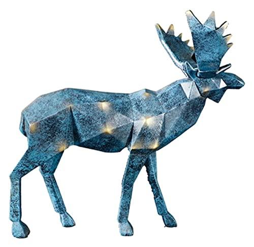 Escultura de escritorio Geométrico Elk estatua Escultura Decoración del hogar Adornos de escritorio Accesorios de oficina Figuras animales Resina Artesanía Modelo Regalos