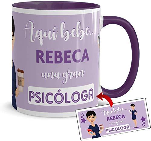 Kembilove Taza Desayuno – Tazas Personalizadas con Nombre de Profesiones – Tazas Originales para Regalar – Taza Café Aquí Bebe una Psicóloga – Regalos Personalizados