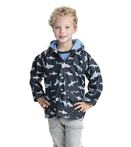 Hatley Jungen Regenjacke, Blau (Shark Frenzy 400), 12 Jahre