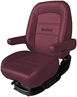 Bostrom Pro Ride Low Base Mid-Back Seat With Armrests - Red Ultra-Leather